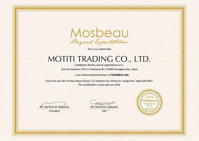 Giấy chứng nhận nhà phân phối ủy quyền sản phẩm Mosbeau