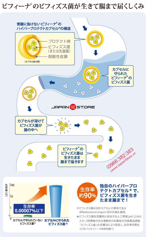 Men vi sinh Bifina S Health Aid 30 gói của Nhật Bản 4